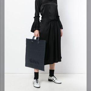 Comme Des Garçons slim woven jute leather bag NWT